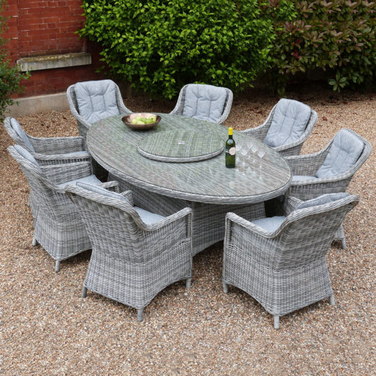 Henley 8 Chair Oval Dining Set Slate Rattan Outside Edge Metal Garden Furniture