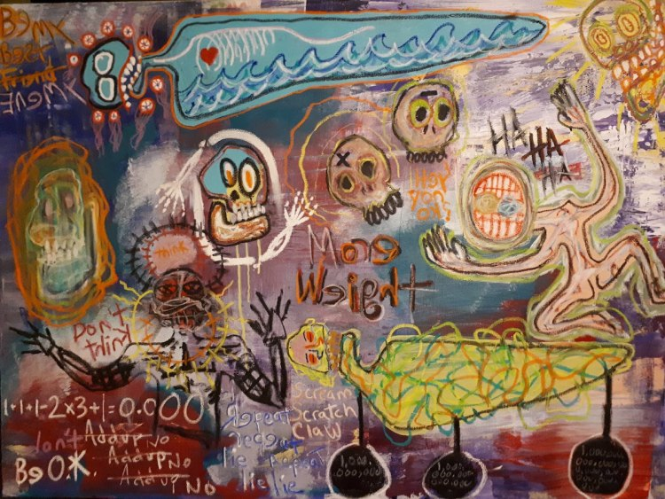 Title More Weight-A look into a sick mind Medium Acrylic and oil stick on stretched canvas Size 36x48