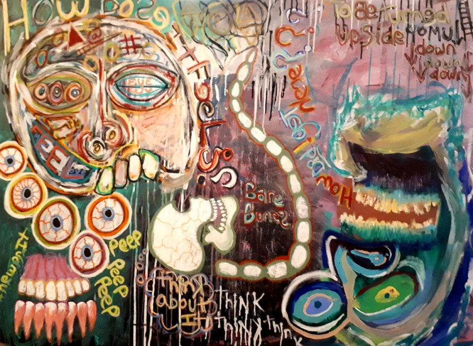Title Bare Bones- A look into a sick mind *edition 2 Medium Acrylic and oil stick on stretched canvas Size 36x48