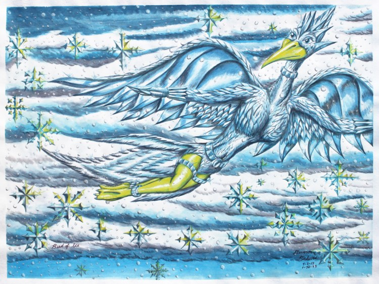 Bird of Ice Medium watercolor on paper Size 17in X 22.5in