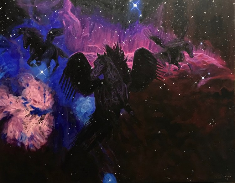 """The Dream Of A Nebula Coming To Life Medium Acrylic on Canvas Size 22x28"""""""