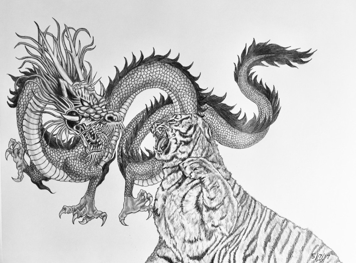 When Tiger Meets Dragon Medium Pencil Drawing Size 9x12""