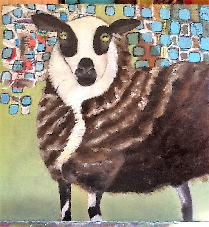 Goat in a fur coat Medium Oil on canvas Size 3' x 2' x 4""