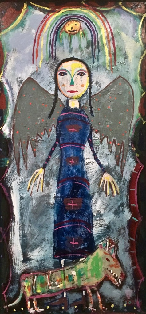 New Day Rising (Woman with Dog) Medium House paint on wood assemblage. Size 24 x 48 inches