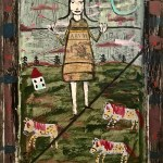 The Funambulist. Medium House paint and collage on cabinet door. Size 18 x 22 inches