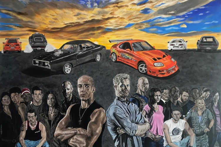 The Fast & The Furious Medium Acrylic on Canvas Size 24x36""