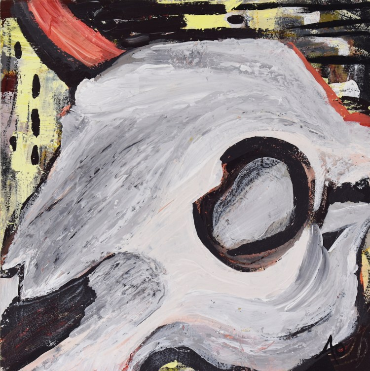 Cow Skull #1 Medium Acrylic on wood Size 12 in X 12 in