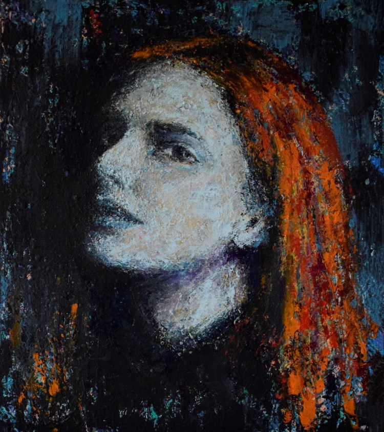 Girl with red hair in the light of the moon | Acrylic on canvas palletknife | 60x70 cm