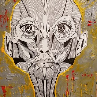 anatomy of a face | acrylic & ink on canvasette paper | 11 x 14 inches