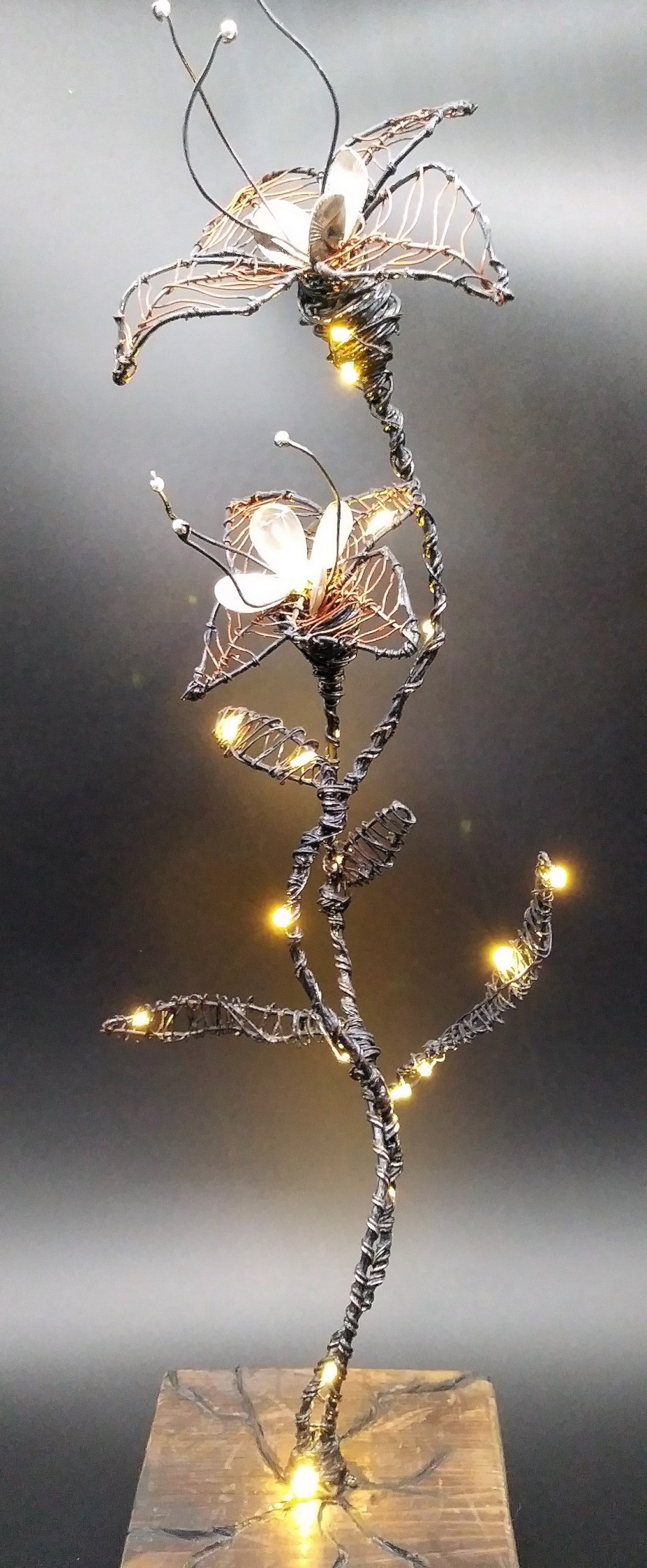Fantasy Flowers   Mixed media sculpture   14in H x 5in L x 4in W