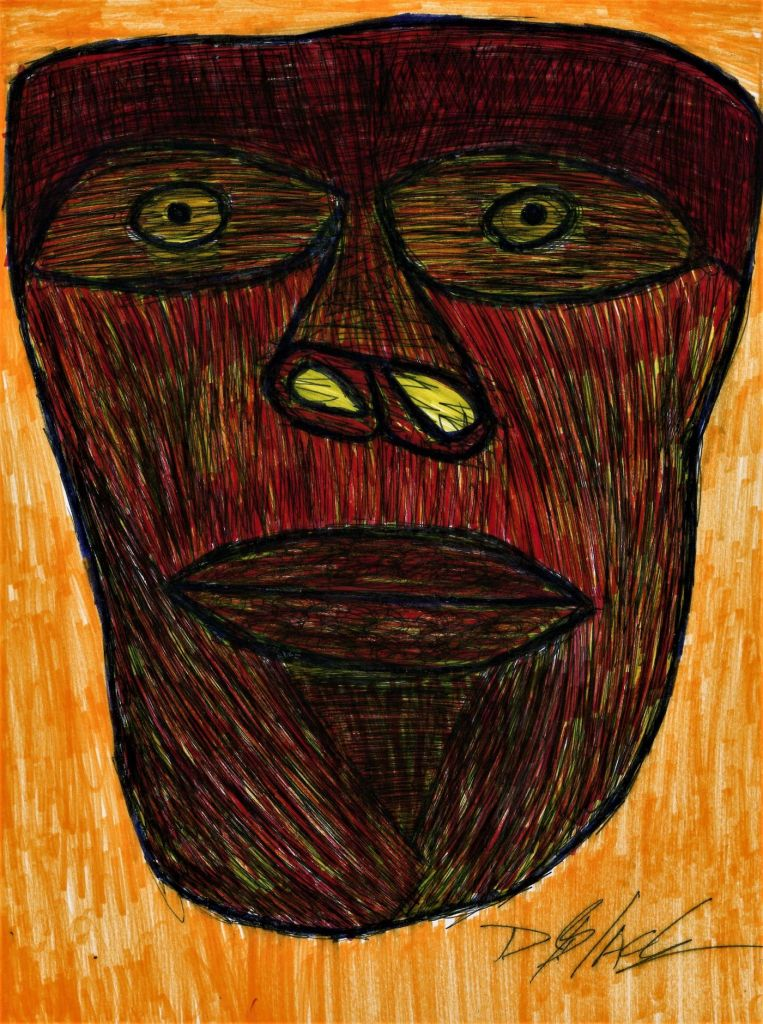 Self Portrait in the Age of Coronavirus   Pen and Ink drawing   11 in by 8 in