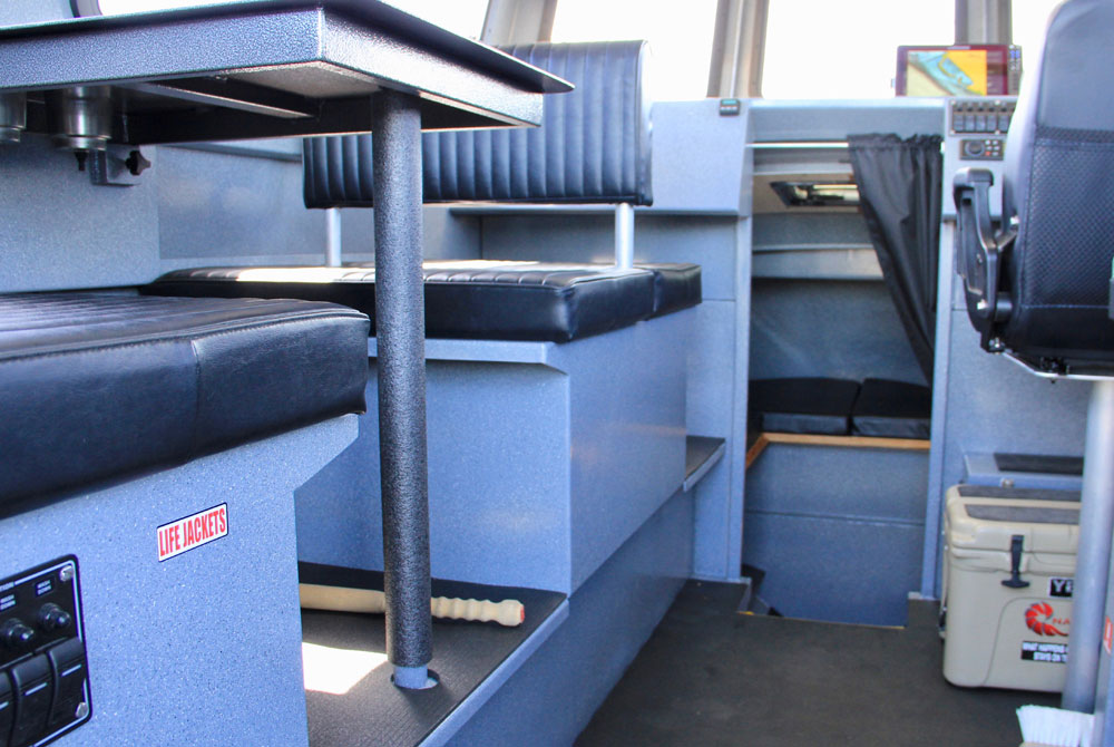 View of boat interior bench seats