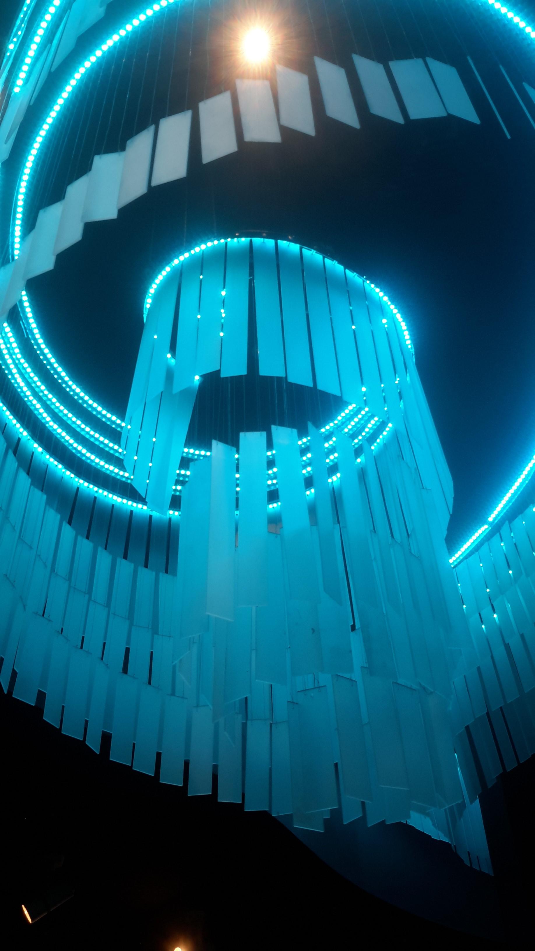 Unique Spiral lights in toilet