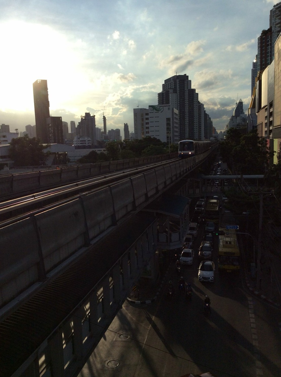Beautiful Sunset in Bangkok ( View from Sky train's platform )