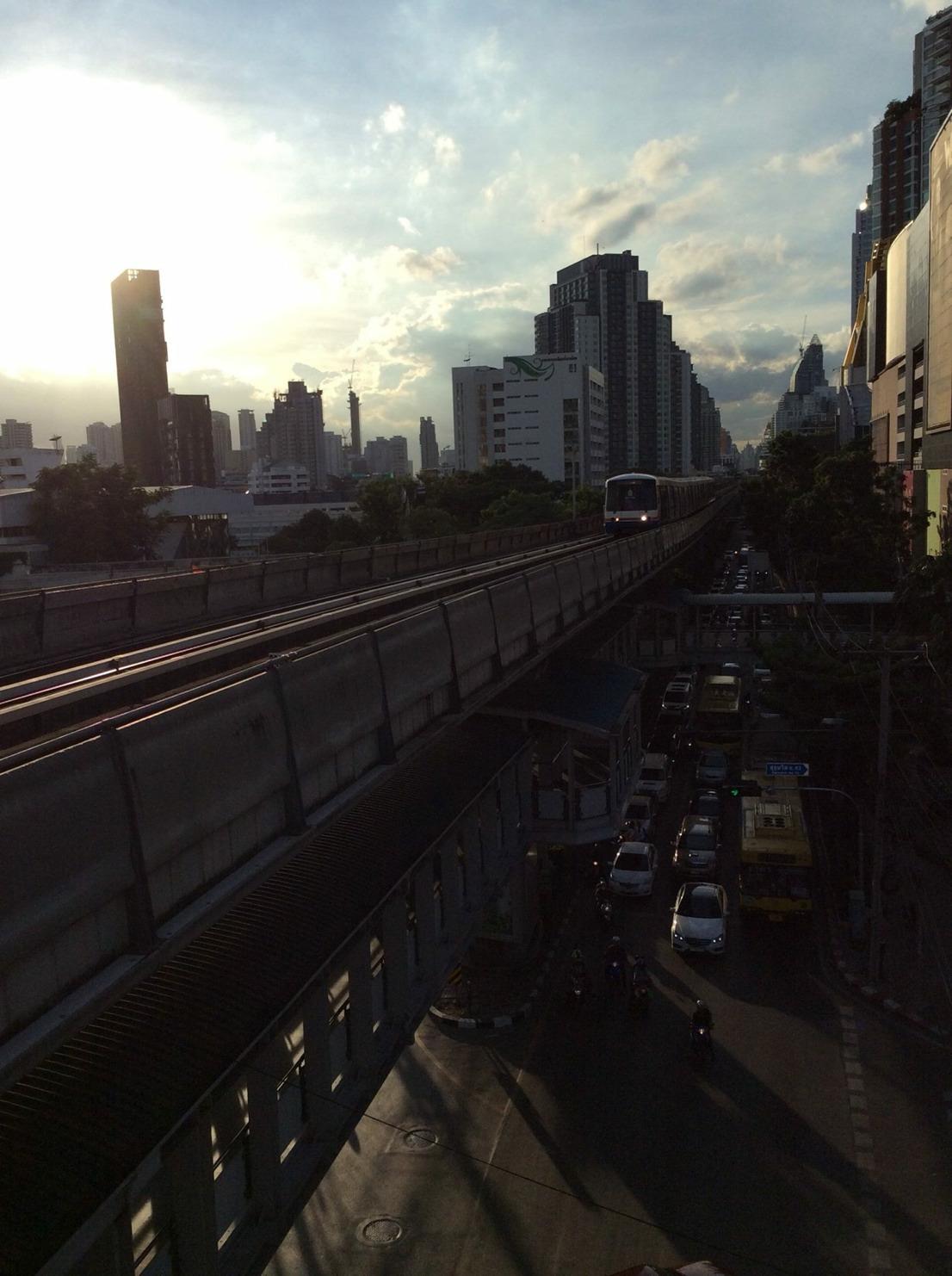 Beautiful Sunset in Bangkok ( View from Sky train's platform )