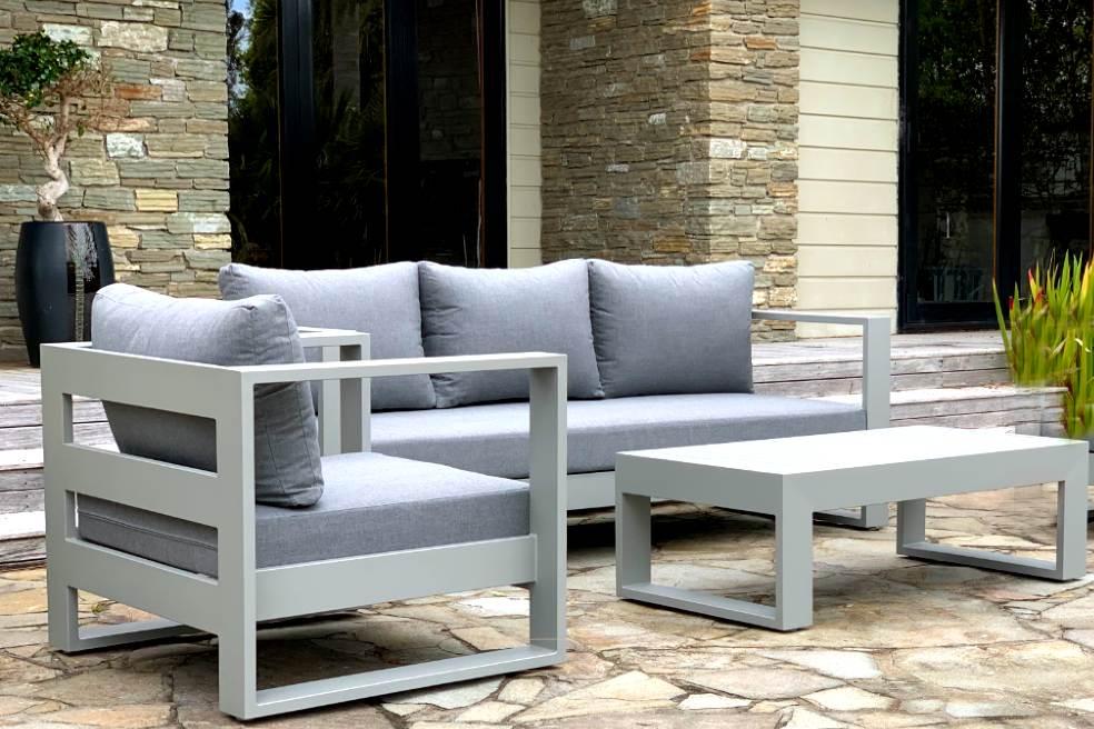 bask sunbrella outdoor set 3 seater sofa chair coffee table grey frame