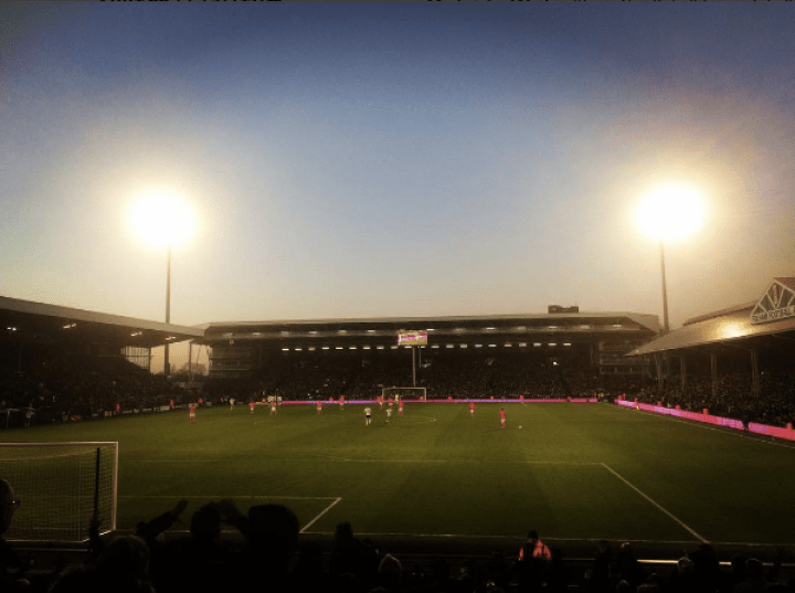 Under the lights as seen from the Putney End, Craven Cottage. Fulham v Brighton & Hove Albion 2017