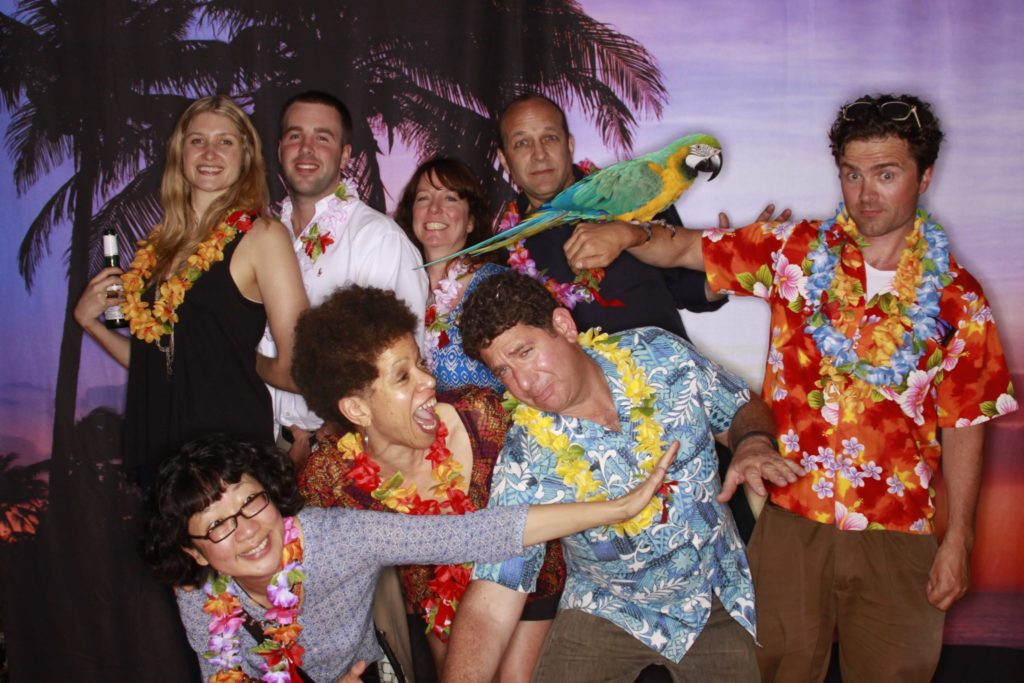 Hawaiin Luau Themed Photo Booth with Live bird by OutSnapped