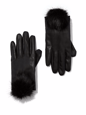 The Daily Find: POM-POM ACCENT FAUX-LEATHER GLOVES