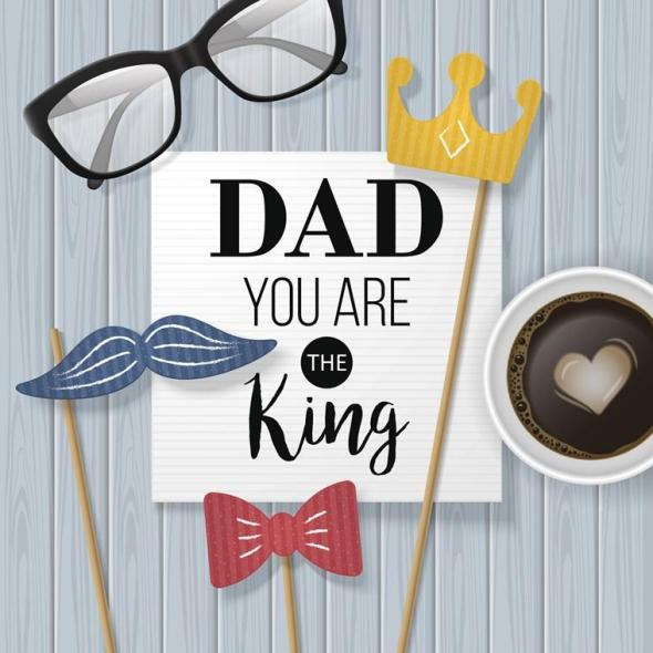 Fathers day banner design with lettering, coffee cup and paper note. Flat lay style