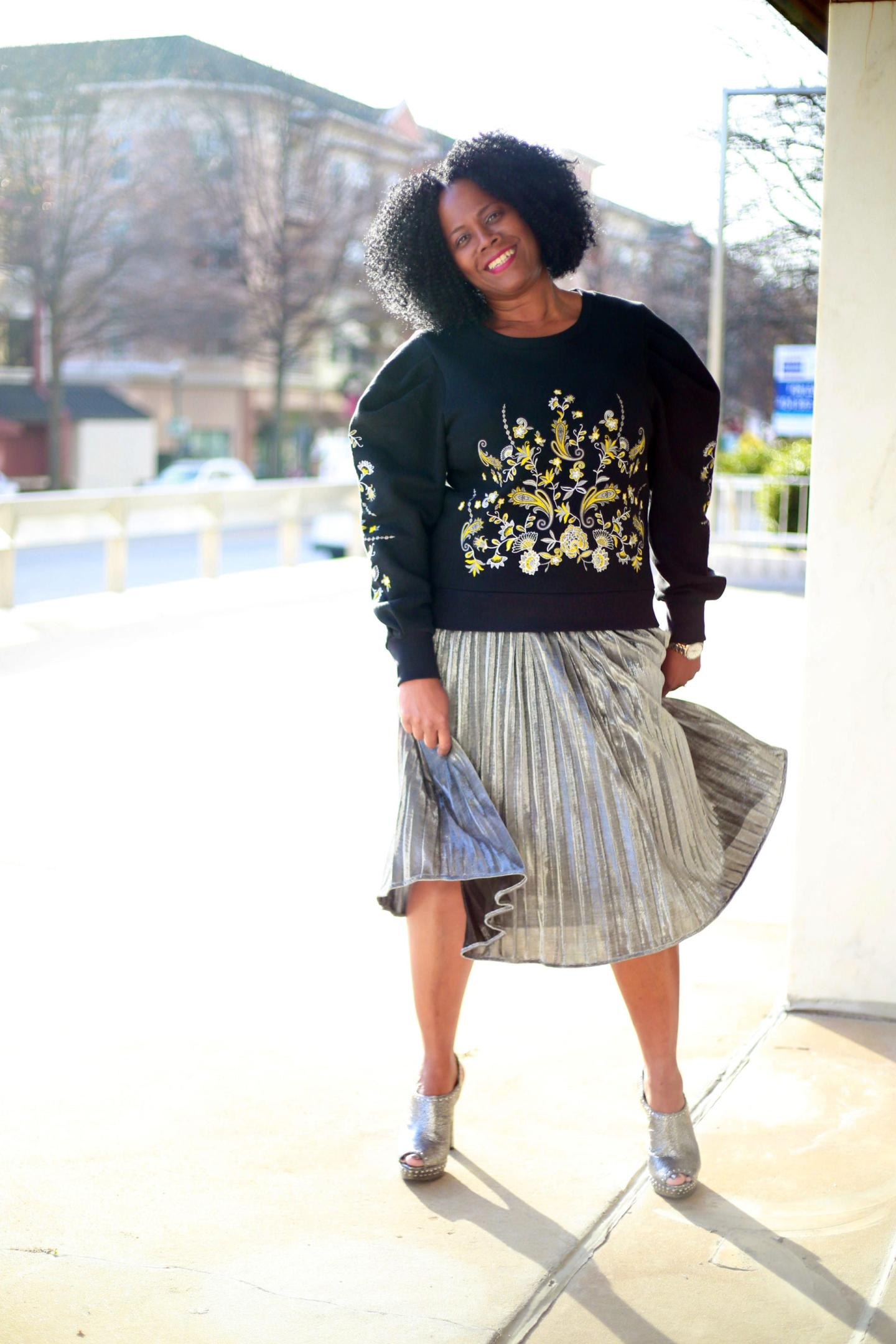 Blogger Style: Metallic Pleated Midi Skirt