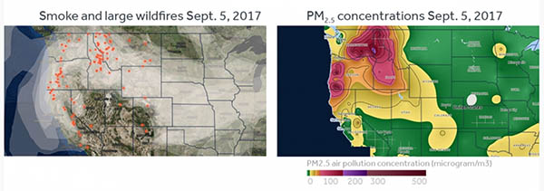 Two graphs showing satellite images of wildfire smoke across the United States.