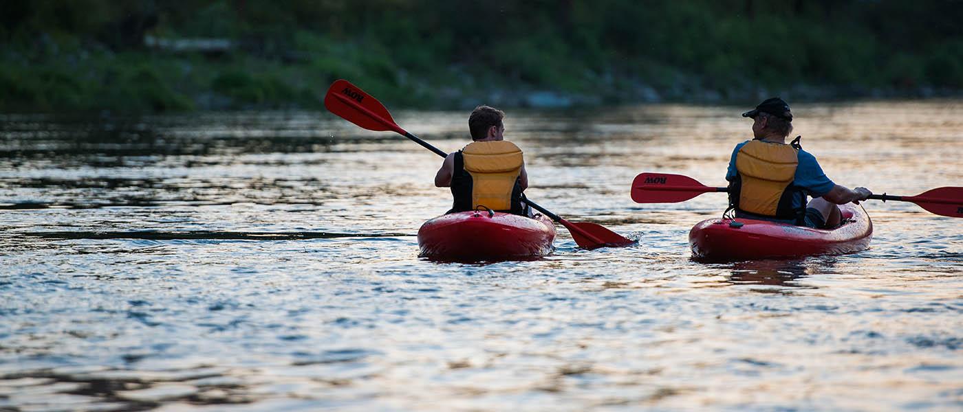 Kayaker paddling on the Spokane River.