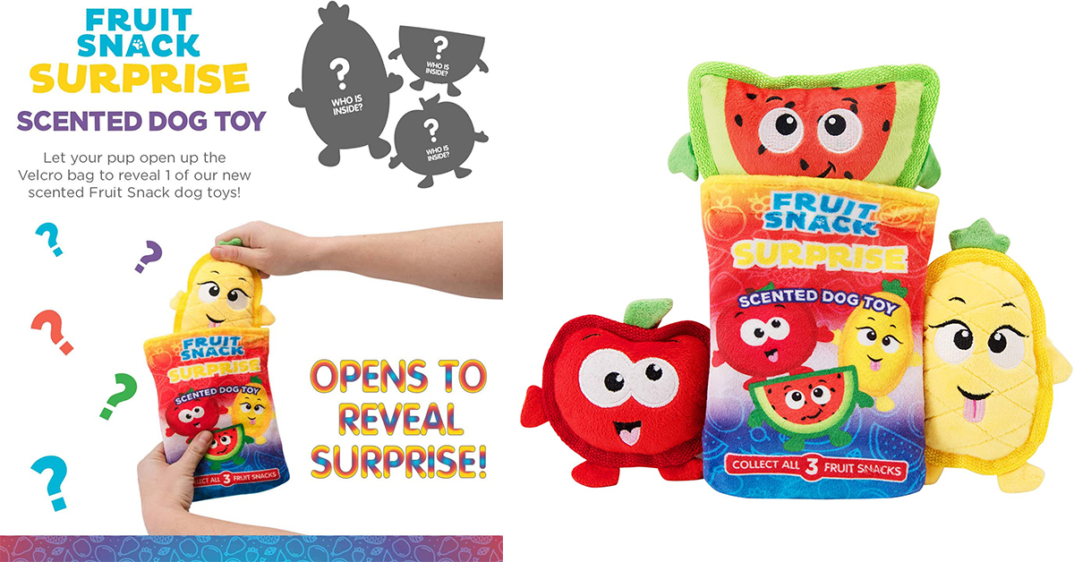The Hidden Surprise Fruit Snacks are fun collectible toys for dogs