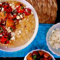 charred corn polenta with herb + tomato salad