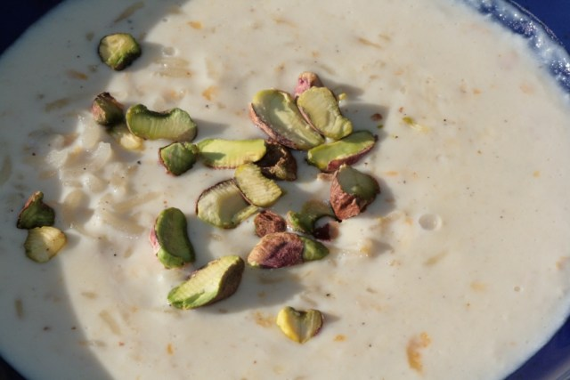 Kheer garnished with pistachios