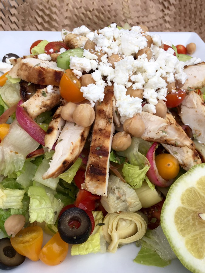 Greek salad, salad, chicken, chicken salad, Greek food