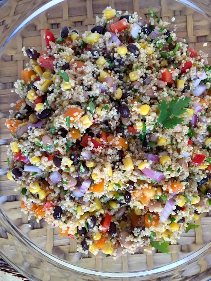 quinoa, salad, black beans, corn, cilantro