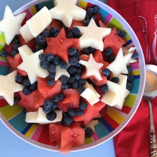 Watermelon Jicama Starry Fruit Salad with Vanilla Bean Dressing