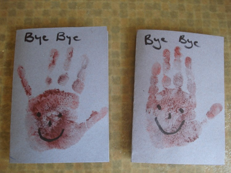 Handmade pre-school goodbye cards