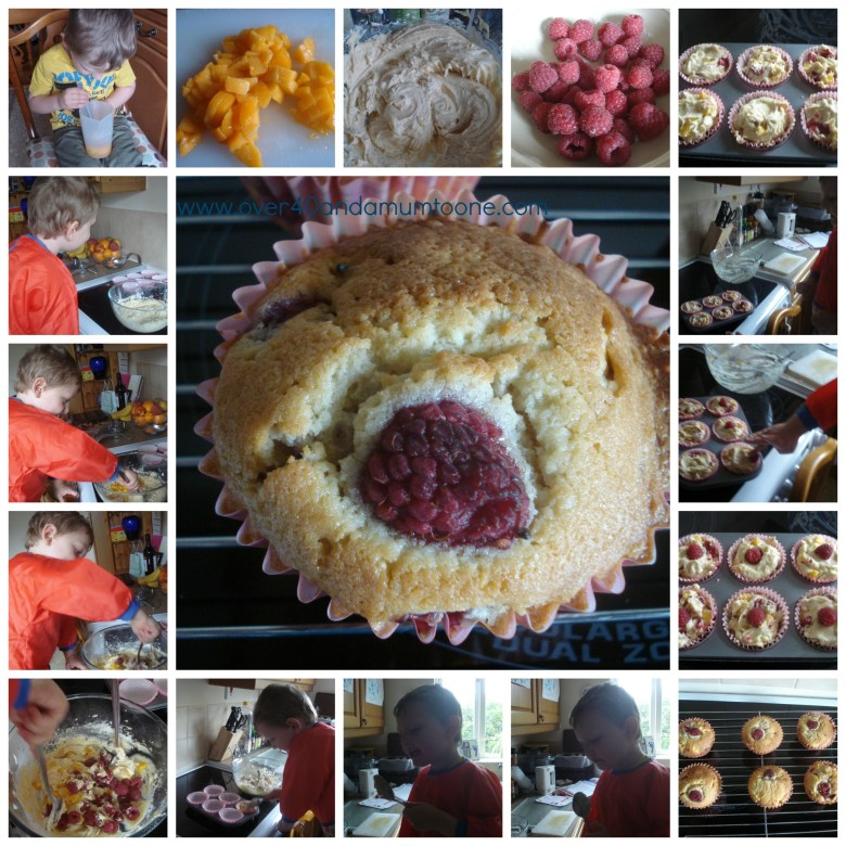 Fresh Fruit muffins, Sainsburys recipe, A rainy morning making cakes
