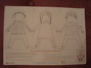 Paper Dolls World Record Attempt, Julia Donaldson, PanMacmillan, Save the Children