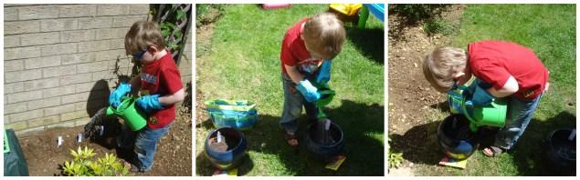 Watering his seeds