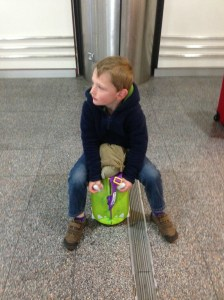 Monkey enjoys some Trunki time