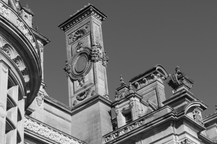 Chimneys at Waddesdon Manor in Black and White
