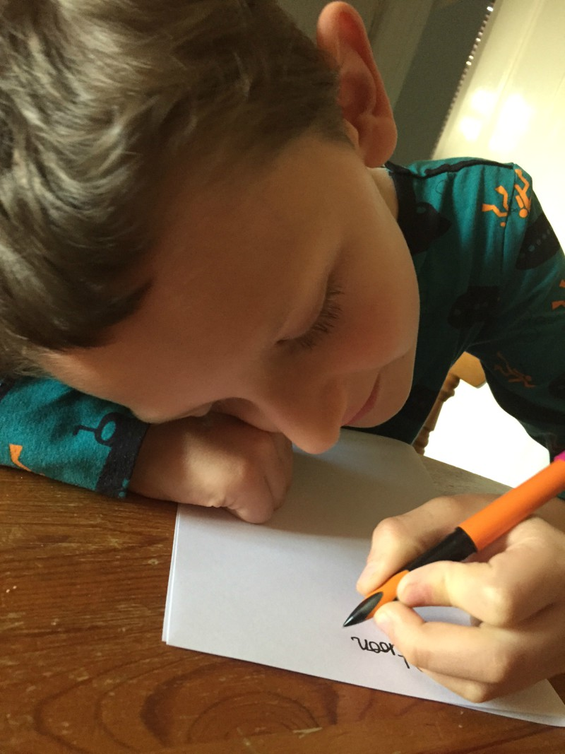 Encouraging children with their handwriting