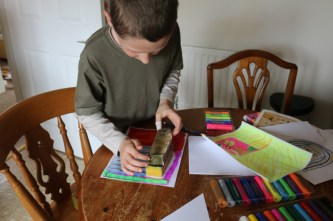 Mess free art time with Little Brian Paint Sticks