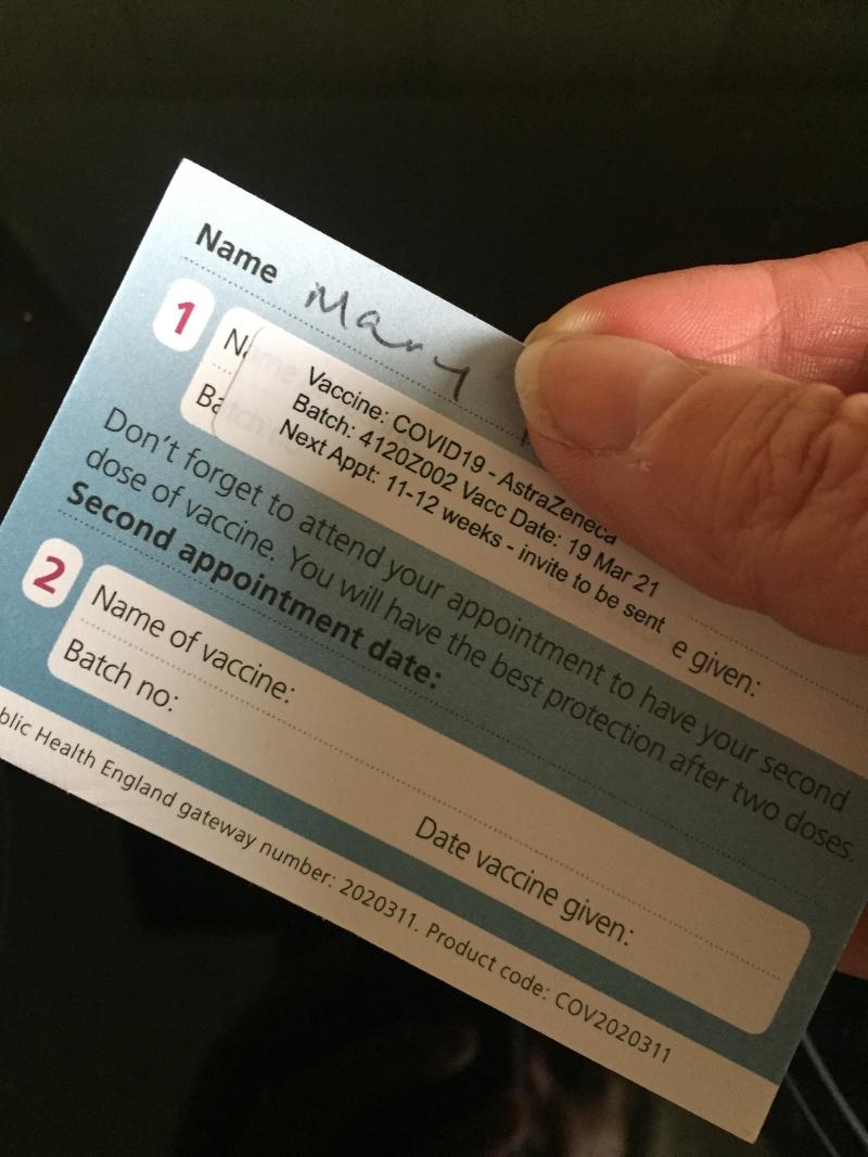 Covid19 AstraZenaca vaccination card