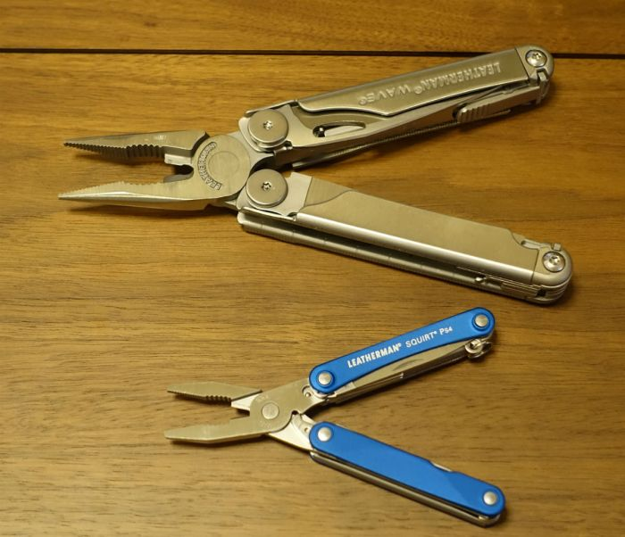 LEATHERMAN SQUIRT PS4とWAVE プライヤー時比較