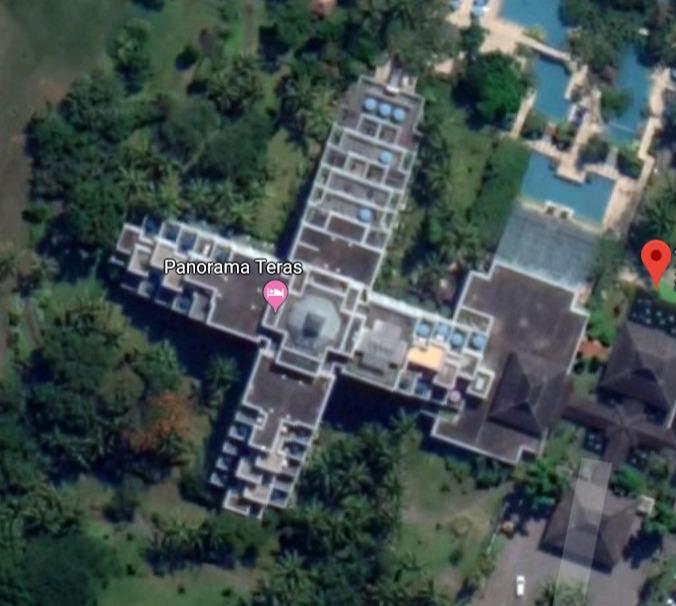 ハイアットリージェンシー ジョグジャカルタ 客室部は上から見ると「十字」の形