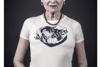 Vivienne Westwood models a Vivienne Westwood-designed t-shirt for the Save the Arctic collection, shot by celebrity photographer Andy Gotts MBE.