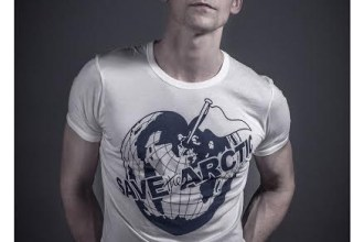 Tom Hiddleston models a Vivienne Westwood-designed t-shirt for the Save the Arctic collection, shot by celebrity photographer Andy Gotts MBE.