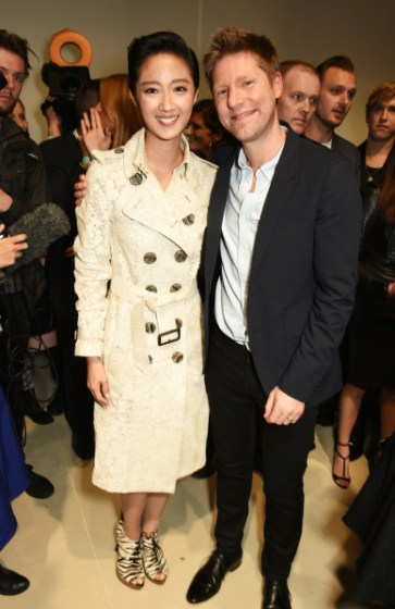 LONDON, ENGLAND - SEPTEMBER 21:  Guey Lun-Mei (L) and Christopher Bailey, Burberry Chief Creative and Chief Executive Officer, pose backstage at the Burberry Womenswear Spring/Summer 2016 show during London Fashion Week at Kensington Gardens on September 21, 2015 in London, England.  (Photo by David M. Benett/Dave Benett/Getty Images for Burberry) *** Local Caption *** Guey Lun Mei; Christopher Bailey