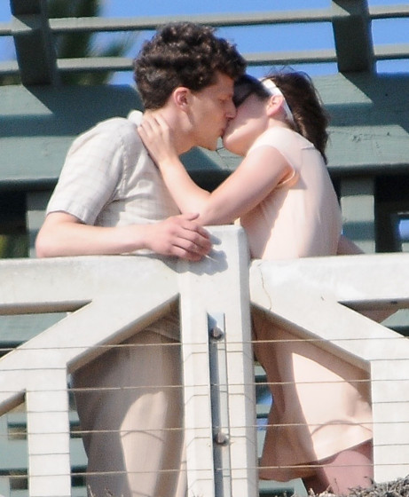 51831757 Actors Kristen Stewart and Jesse Eisenberg are spotted locking lips while filming a scene for an Untitled Woody Allen Project in Santa Monica, California on August 24, 2015. This is the first time Allen has filmed a movie in Los Angeles since 1977's 'Annie Hall.' FameFlynet, Inc - Beverly Hills, CA, USA - +1 (818) 307-4813