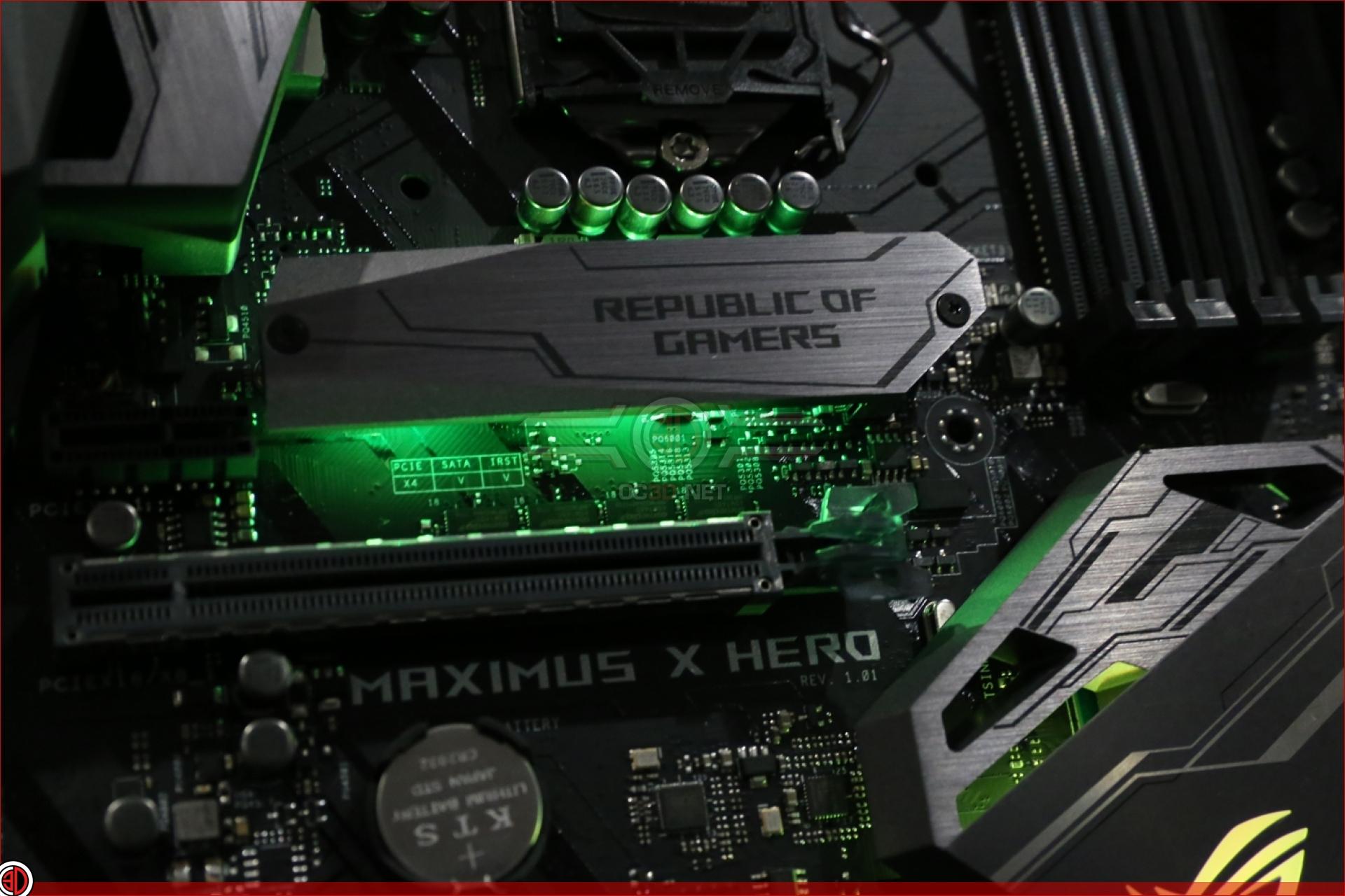 ASUS Z370 Maximus X Hero Review Lighting CPU