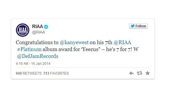 Kanye West《Yeezus》獲頒白金唱片